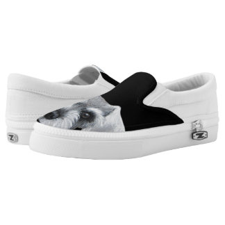 Schnauzer Grey&white by miart Slip On Shoes