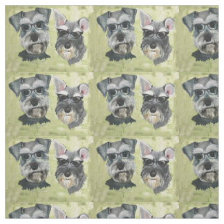 Schnauzer Groovy Glasses Combed Cotton Fabric