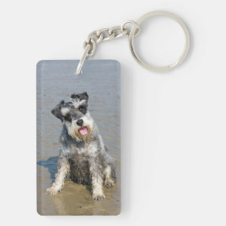 Schnauzer miniature dog cute beautiful photo beach Double-Sided rectangular acrylic key ring