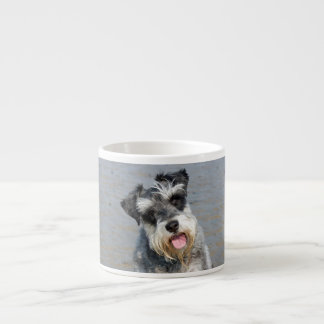 Schnauzer miniature dog cute photo at beach, gift espresso cup