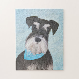 Schnauzer (Miniature) Painting - Cute Original Dog Jigsaw Puzzle