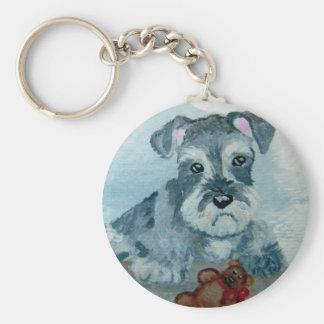 Schnauzer Pup with Teddy key chain