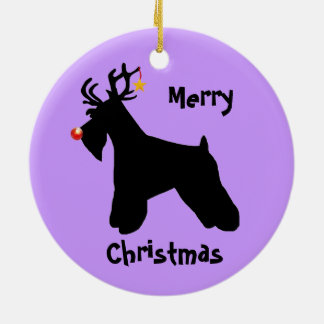Schnauzer Reindeer Christmas Round Ceramic Decoration