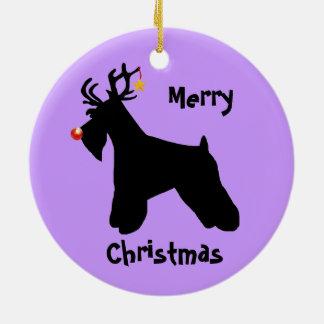 Schnauzer Reindeer Christmas Round Ceramic Decoration