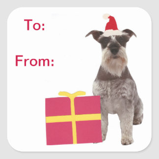 Schnauzer Santa Hat Gift Tags Sticker