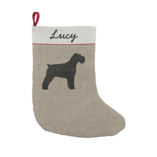 Schnauzer Silhouette (Natural Ears) with Text Small Christmas Stocking