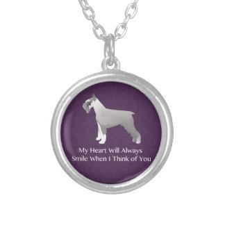 Schnauzer Thinking of You Design Round Pendant Necklace