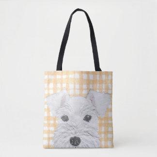 Schnauzer, White, Modern Tote Bag