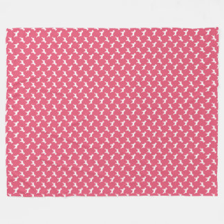 Schnauzer White Silhouettes on Rose Pink Fleece Blanket