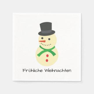 Schneemann Fröhliche Weihnachten Paper Napkin