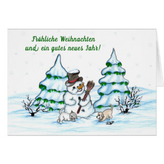 Schneemann with cat and dog puppy on German Card