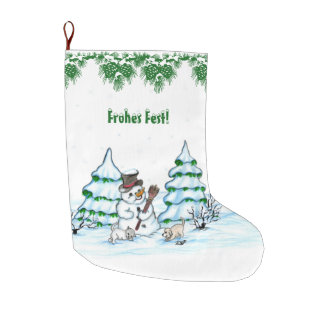 Schneemann with cat and dog puppy on German Large Christmas Stocking