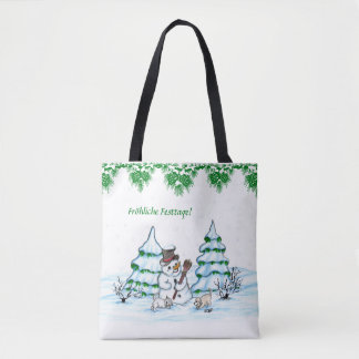 Schneemann with cat and dog puppy on German Tote Bag
