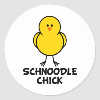 Schnoodle Chick Classic Round Sticker