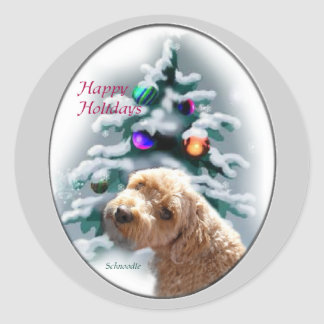 Schnoodle Christmas Gifts Classic Round Sticker