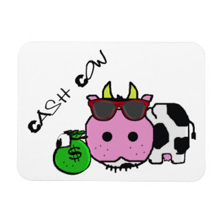 Schnozzle Cow Cash Cow Cartoon w/Money Bag Rectangular Photo Magnet