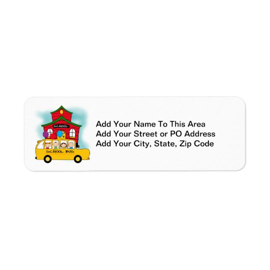 School and School Bus T-shirts and Gifts Return Address Label