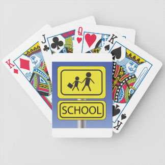 school banner bicycle playing cards