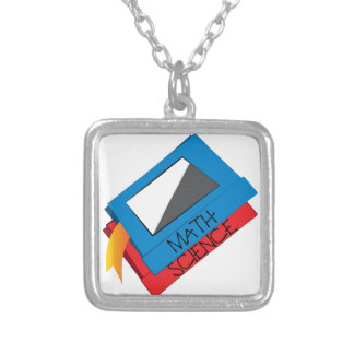 School Books Silver Plated Necklace