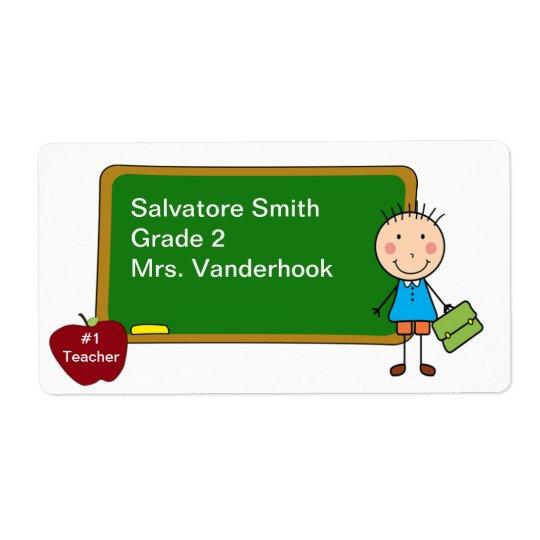 School Boy Book Labels