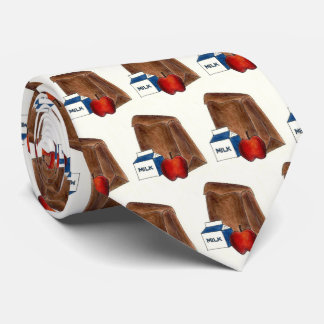 School Brown Bag Lunch Milk Carton Apple Teacher Tie