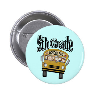 School Bus 5th Grade Tshirts and Gifts Pinback Button