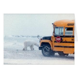 School bus and bear card