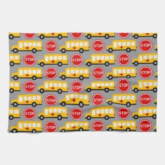 School Bus and Stop Sign Tea Towel