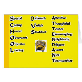 School Bus  Attendant Card