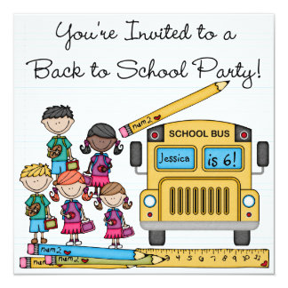 School Bus Back to School Birthday Invite