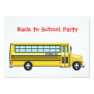 School Bus  Back to School Party CUSTOMIZE Card