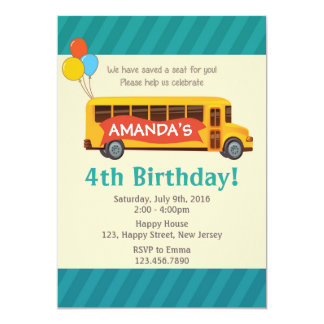 School Bus Birthday Invitation