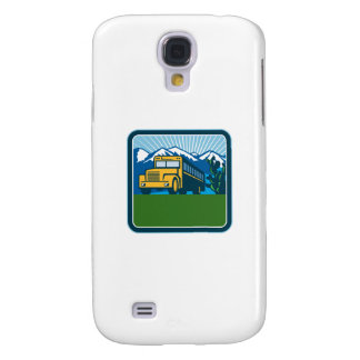 School Bus Cactus Mountains Square Retro Galaxy S4 Covers