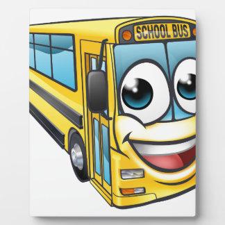 School Bus Cartoon Character Mascot Plaque