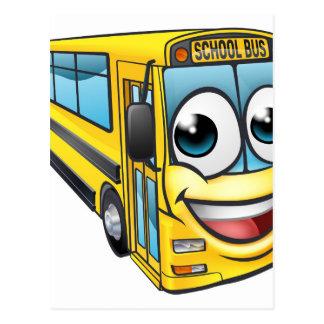 School Bus Cartoon Character Mascot Postcard