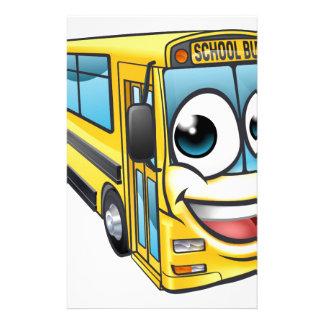 School Bus Cartoon Character Mascot Stationery