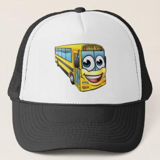 School Bus Cartoon Character Mascot Trucker Hat