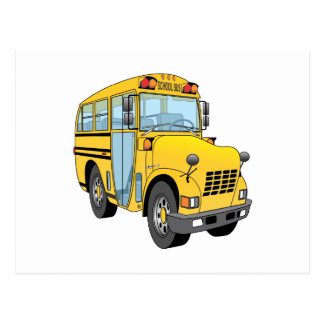 School Bus Cartoon Postcard