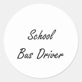 School Bus Driver Artistic Job Design Round Sticker