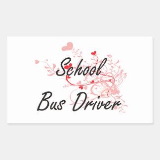 School Bus Driver Artistic Job Design with Hearts Rectangular Sticker