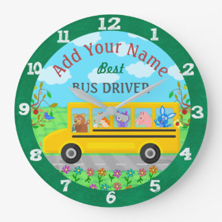 School Bus Driver Cute Animals | Personalised Name Large Clock