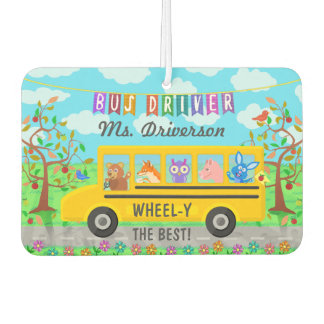 School Bus Driver Cute Animals | Personalized Name Car Air Freshener