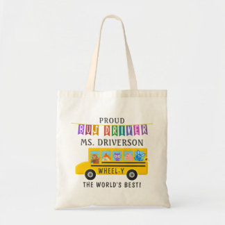 School Bus Driver Cute Animals | Personalized Name Tote Bag