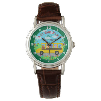 School Bus Driver Cute Animals | Personalized Name Watch