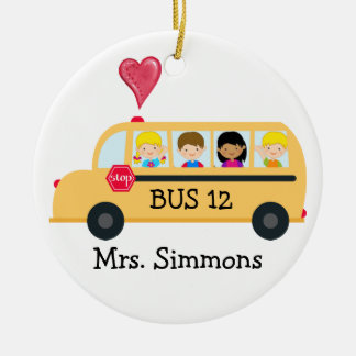 School Bus Driver - SRF Round Ceramic Decoration