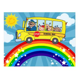 School Bus Driving on a Rainbow Postcard