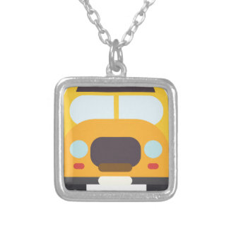 School Bus Front Silver Plated Necklace