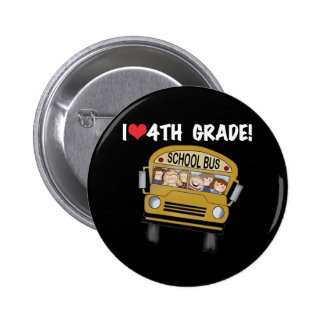 School Bus I Love 4th Grade 6 Cm Round Badge