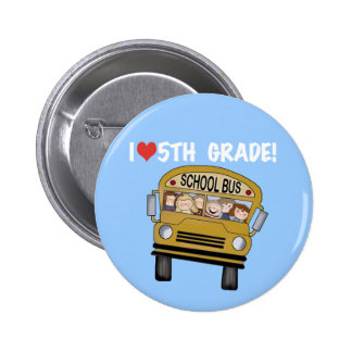 School Bus Love 5th Grade Tshirts and Gifts Buttons