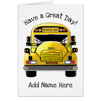 School Bus Personalized Greeting Card